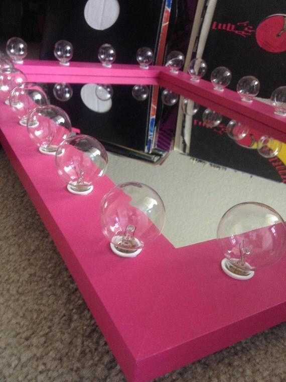 Lighted Hot Pink Vanity Cosmetic Makeup Mirror By Woodubemine