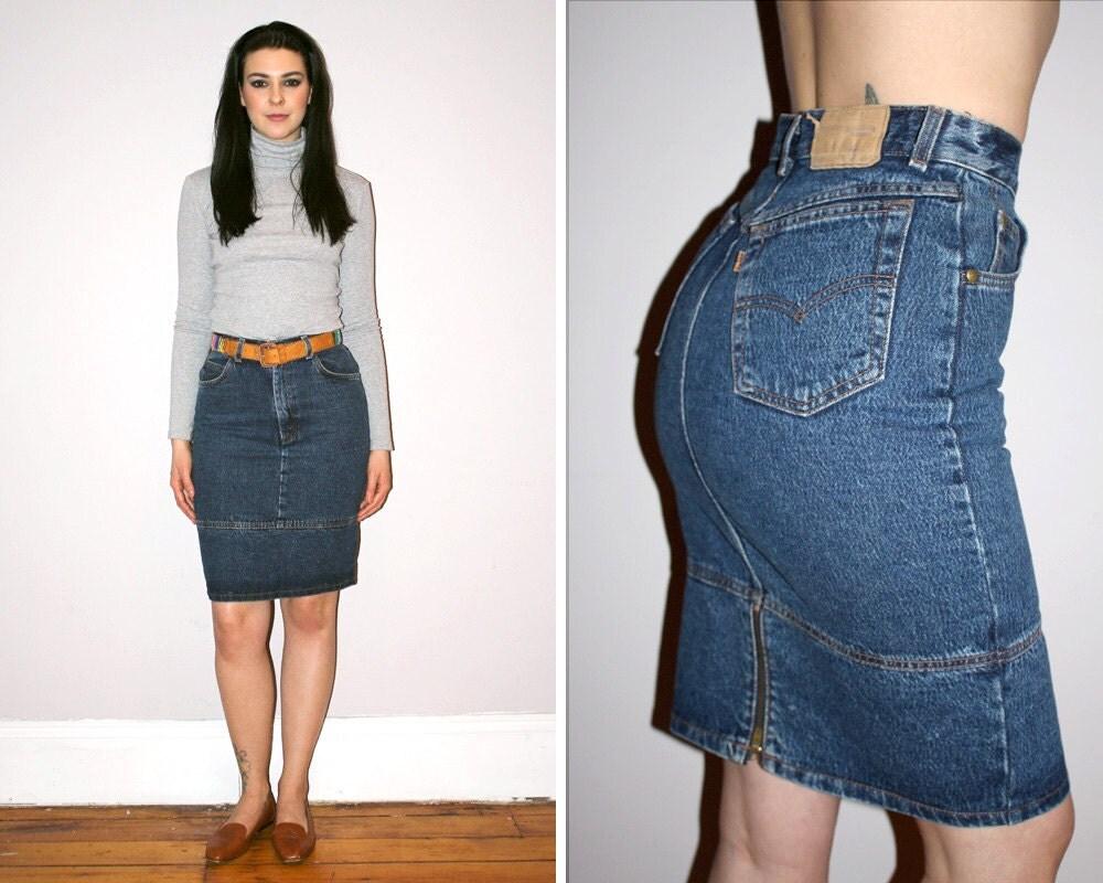 vintage 80s levi s high waisted denim skirt medium wash
