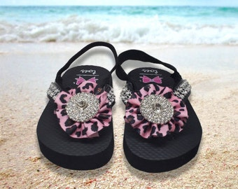 Frankie Boutique Bow on Flip Flops with Center Rhinestone