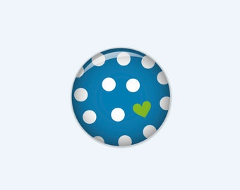 Dotted button in blue with white dots