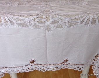 Handmade lace tablecloth, antique handmade Belgian lace, antique table linen
