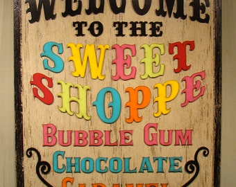 Sweet Shoppe Sign Candy Store Sign Custom Sign Custom Logo Store Sign Business Sign Trade Show Sign Wedding Decor Wedding Sign READY TO SHIP