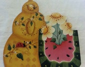 WOoden cut out honey bee hive bees watermelon daises ladybug