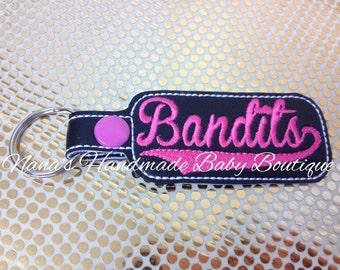 Bandits - In The Hoop - Snap/Rivet Key Fob - DIGITAL EMBROIDERY DESIGN