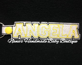 ANGELA Custom Name - In The Hoop - Snap/Rivet Key Fob - DIGITAL Embroidery DESIGN