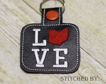 OHIO LOVE  - The Hoop - Snap/Rivet Key Fob - DIGITAL Embroidery Design