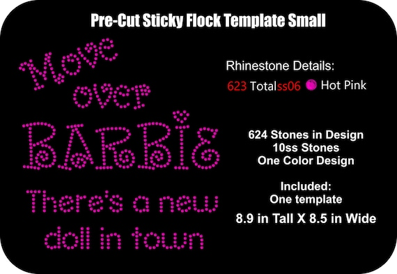 Pre cut rhinestone flock template 2 sizes move over for Sticky flock pre cut templates