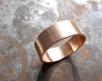 elegant bronze ring flat band, personalized mens ring bronze, modern bronze ring, bronze wedding band, bronze anniversary ring gift