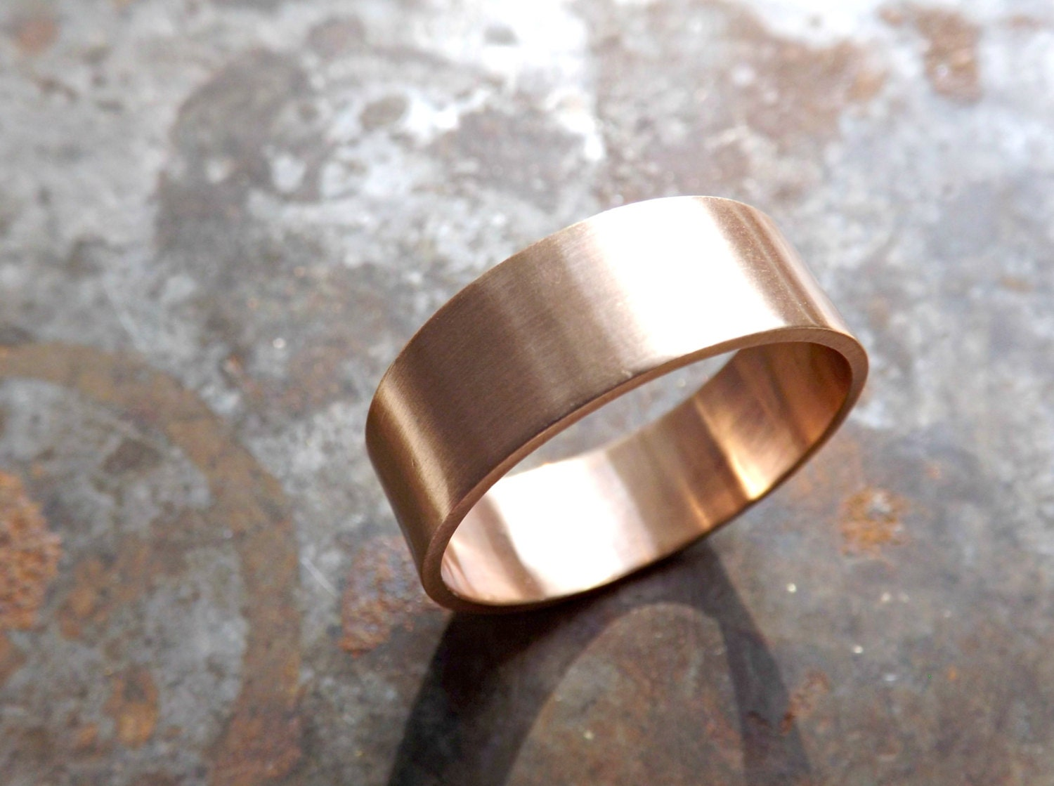 Elegant Bronze Ring Flat Band Personalized Mens Ring Bronze