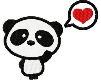 Embroidery Design Panda in love 4'x4' - DIGITAL DOWNLOAD PRODUCT