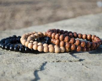 Large Wooden Beads Bracelet, Natural Wooden Bead Bracelet, Beaded Bracelet, Mens Wood Bracelet