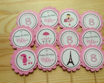 Paris Personalised Cupcake Toppers