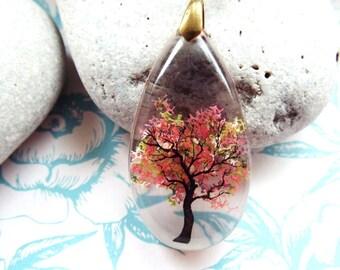 Autumn Tree Resin Pendant