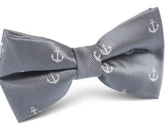 Men's Bow Tie Pre-Tied OTAA Charcoal Grey Anchor Bow Tie (M100-BT) Bowties for Men Ties Bowtie Neckties Mens Wedding Tuxedo Formal Suit Boat