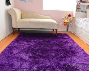 luxurious purple shaggy fur rectangle area rug sheepskin nonslip suede backing baby nursery rug bedroom decor