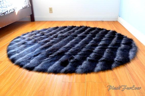 Black Gray Bipolar Bear Faux Fur Round Circular Area Rug Home