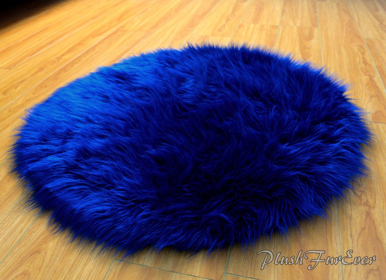 Navy Blue Luxury Shaggy Fur Extreme Plush Faux Fur Round Rug
