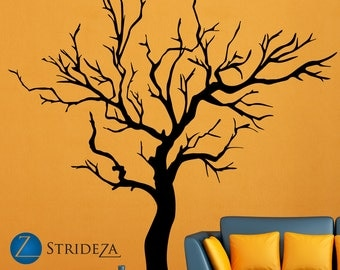 Tree wall decal, tree decal, tree of life, winter tree decal, tree art  print, tree vinyl decal, tree vinyl wall decal, tree art, D00095.