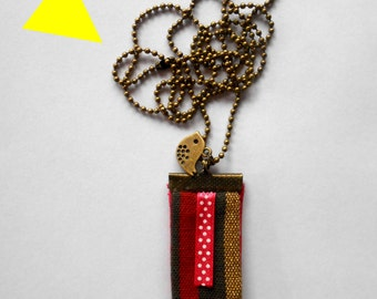 """NECKLACE bronze necklace """"Summer"""" fabric red, gold, taupe"""