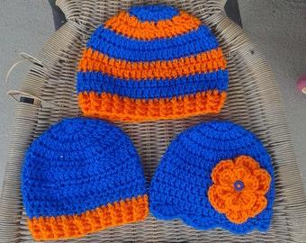 Crochet baby boy or girl Florida Gators hat, Mets hat, childs Gators beanie, blue & orange, boys Gators hat, girls Gators hat