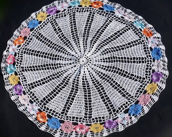 """Vintage Pansy Doily, 19"""" Crocheted Centerpiece,Handmade Doily, Crocheted Linens,Cottage Chic,Round Centerpiece, Vintage Boho Wedding Linens"""