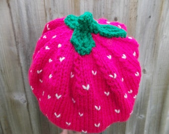 "Raspberry beret slouchy hat 54-56 cm comfortable pink hat with flirt factor size (21.3""-22""inch) handknit hat green crochet leaves on top"