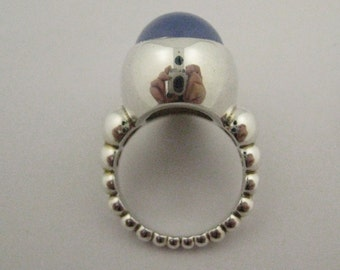 Modernist Holly Blue Chalcedony Custom Made Sterling Silver Ring