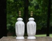 Pair of Vintage Speckled Ceramic Lamps / Pair of Small Mid-Century Speckled Lamps / Ivory Speckled Lamps