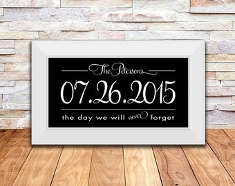 Bridal Shower Gift, Wedding Gift, Personalized Established Date Print,  Anniversary Gift, Engagement Gift, 10 X 20 Inch Print