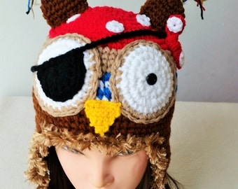 Pirate owl Hat, Crocht owl hat ,Birthday gift, Christmas gift.
