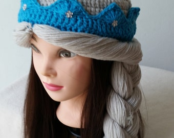 Elsa Crochet Hat, Crochet Snow Queen Hat, Birthday gift, Christmas gift.