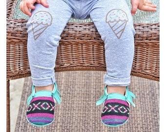 Ice Cream Leggings Hand Painted Childrens Leggings Custom Toddler Leggings Womens Leggings