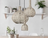 Limited edition rattan wicker natural Handmade Pendant Light brutalism minimal grey nautical danish