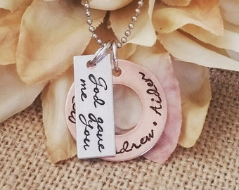 Personalized Hand Stamped Necklace-Mothers Necklace-Family-Established Family Necklace-God Gave Me You