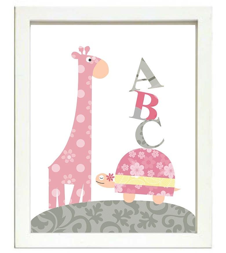 Turtle Giraffe ABC Nursery Art Nursery Print Baby Art Animal Pink Grey Yellow Flowers Print Wall Art