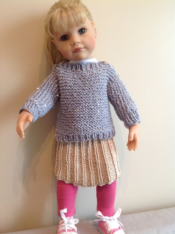 Really Simple Knitting Patterns For Dolls Clothes : Dolls Fashion clothes knitting pattern to fit 18