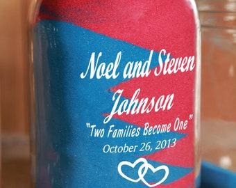 Engraved Redneck Unity Sand Ceremony 1 piece - Big Jar Only Personalized - Quart Mason Jar - Sand NOT included.