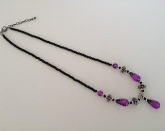 Purple Glass Drop Necklace