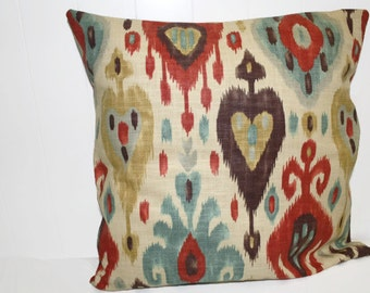 Decorative 18x18, 20x20, 22x22x Richloom Ikat Brick Red/Rust  and Tan Pillow Cover