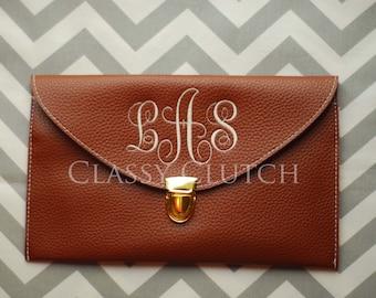 Monogrammed Clutch  Envelope Purse Envelope Clutch Dark Brown Clutch