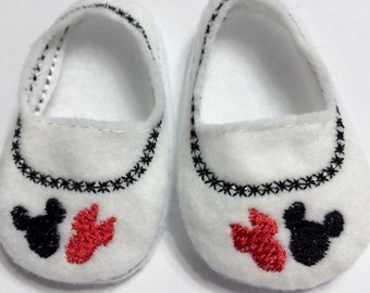 "Mickey and Minnie shoes for American Girl Dolls and 18"" dolls also"