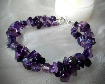 Amethyst and Fluorite Handmade Gemstone Crystal Helix Bracelet