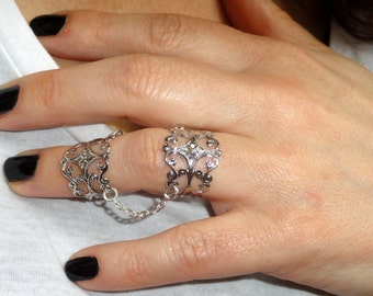 Silver slave ring, Statement ring, Silver filigree adjustable rings, Goth ring, Silver gothic ring, Filigree ring, silver chain rings,