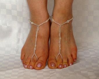 Bridal barefoot sandals, Barefoot sandals, Crystal barefoot sandals, Beaded foot jewelry, Bead bare foot sandals, Bridesmaids jewelry