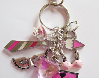 CLEARANCE Pink Keep Calm and Love Christian Keychain Purse/Bag Clip