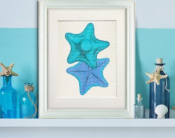 Blue Starfish Shades Duo - starfish art print Starfish decor Living room décor coastal living decor coastal bathroom wall art ocean décor