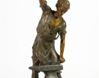 "Gorgeous Antique 23"" Patinated Sculpture of a Blacksmith w/Lamp-c1905 -Rare"