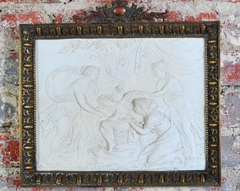 18th century France Savre Bisque Plaque in relief