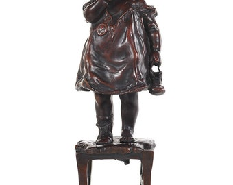 Young Girl Standing on Chair-Patinated Bronze Sculpture by Juan Clara 1875-1958
