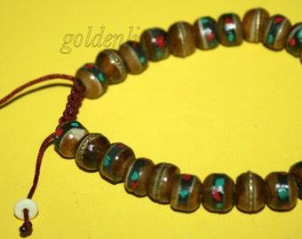 Adjustable wrist male Yak bone wrist male Tibetan wrist Mala meditation wrist mala prayer beads Tibet prayer beads Buddhist wrist mala 5